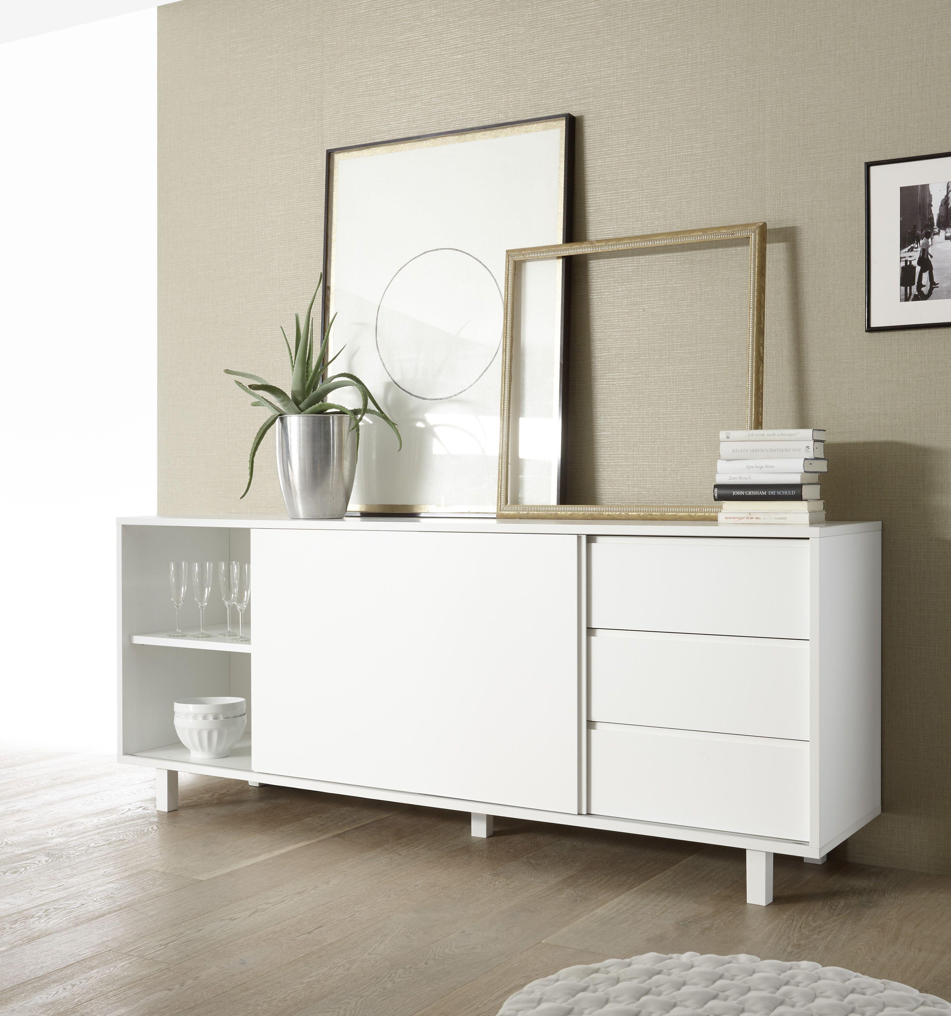 Das Schlichte Und Trotzdem Sehr Moderne Design Eroffnet Ihnen Zahlreiche Alternativen Zur Verwendung Vom Si Anrichte Weiss Sideboard Weiss Holz Schrank