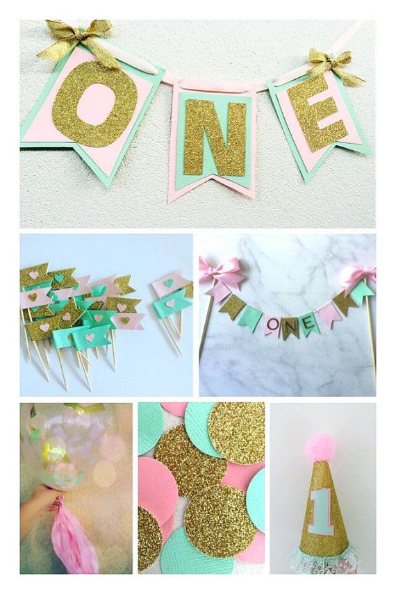First birthday Pink mint and gold mega party pack 1st birthday