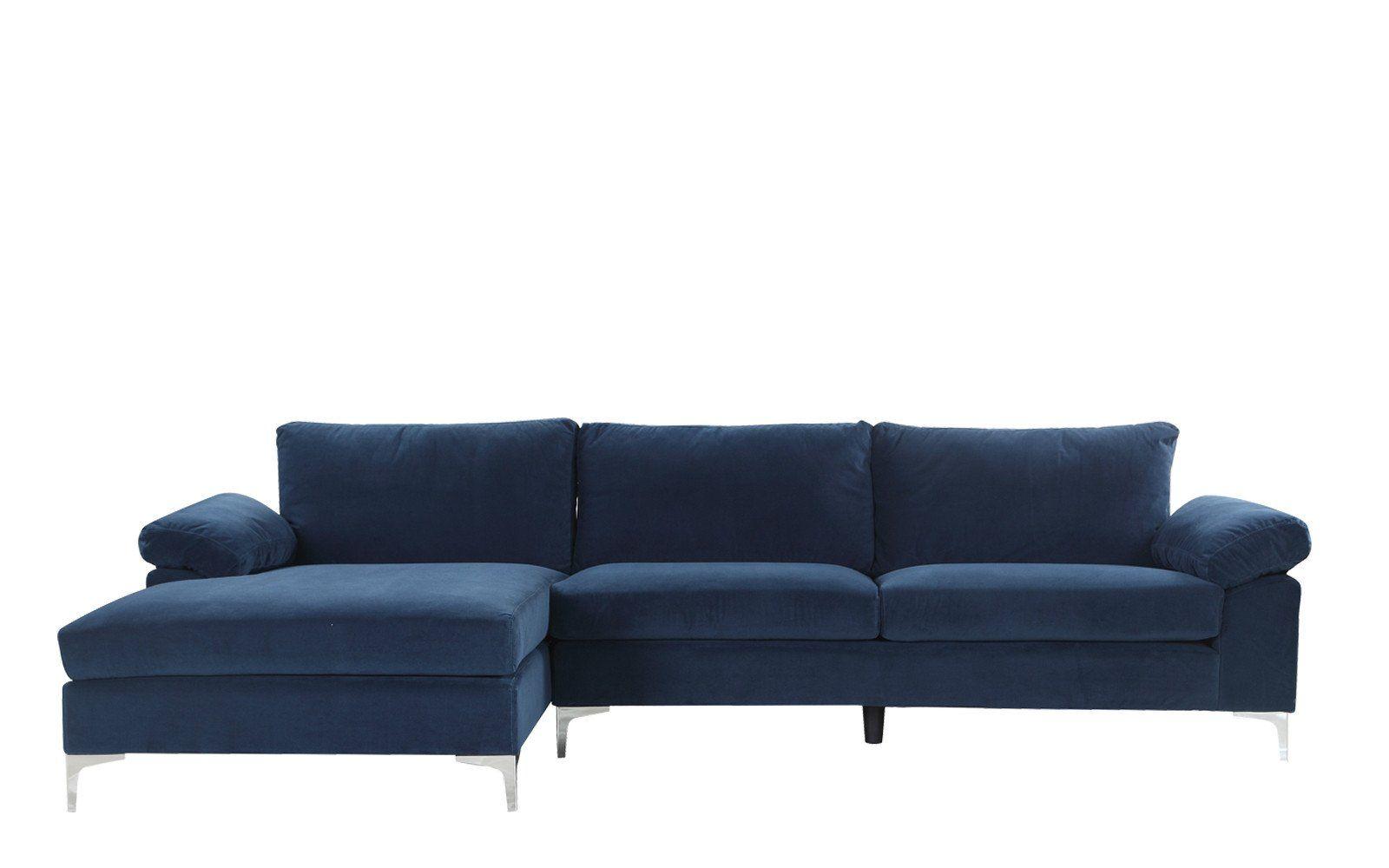 Amanda Modern Velvet Large Sectional Sofa In Navy