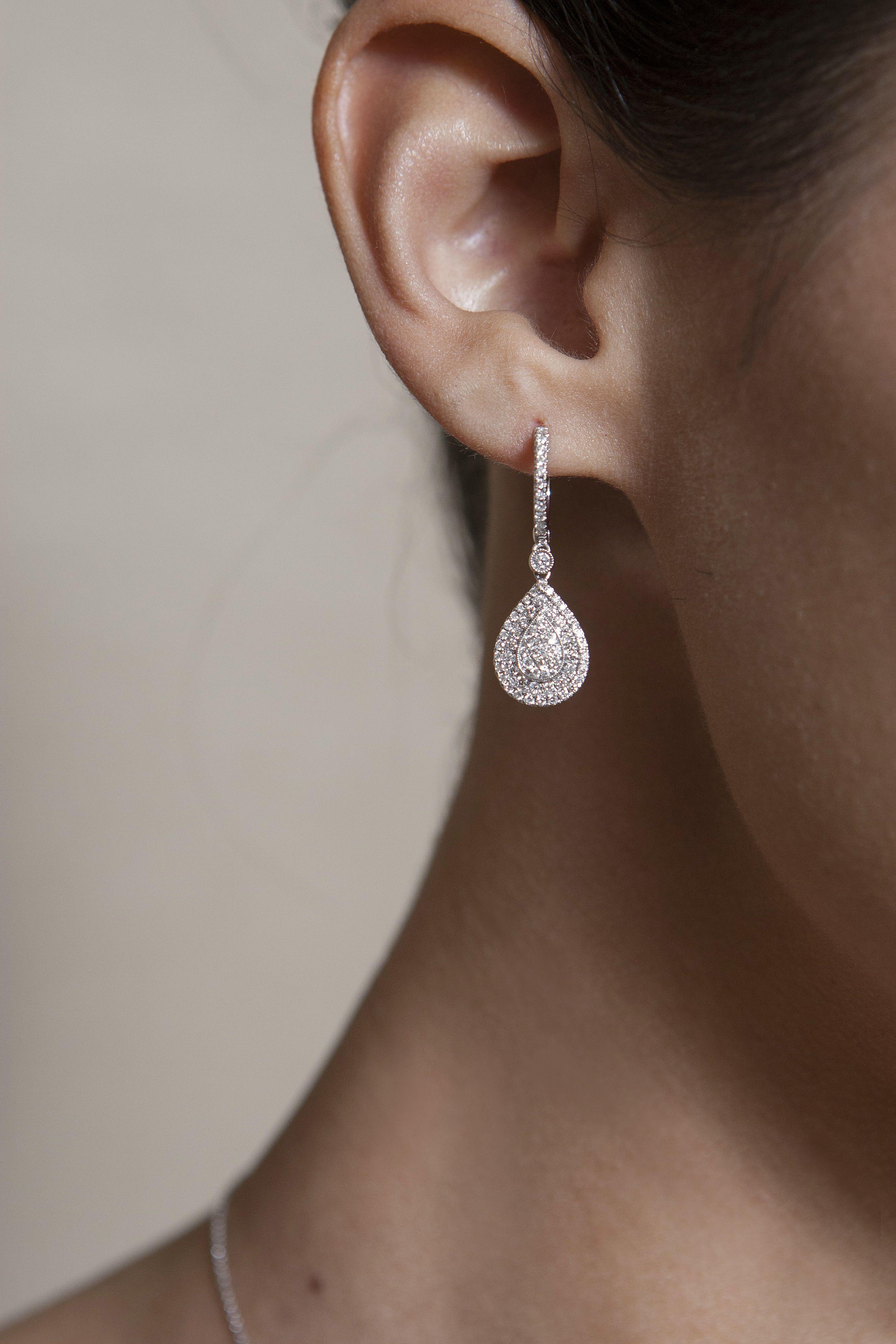 Pave Diamond Teardrop Dangle Earrings