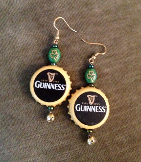 Guinness Beer Bottle Cap Earrings 10 00 Via Etsy Bottle Cap Jewelry Bottle Cap Earrings Bottle Cap Necklace
