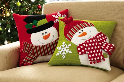 Set Of 2 Holiday Snowman Accent Pillow Covers