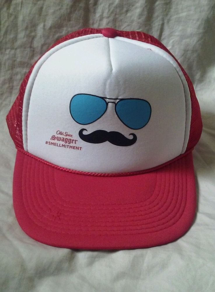 new products 6829e 2e809 Old Spice Swagger Mesh Trucker Snap back Red White Adjustable Baseball Hat  Cat  Oldspice