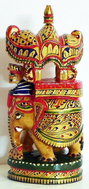 Royal Elephant with Howdah and Mahut (Wood)