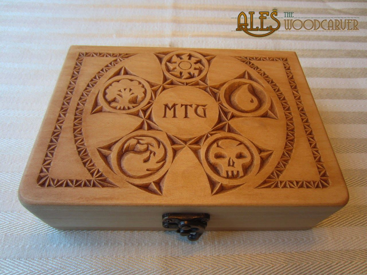 Chip carved card box for mtg all mana symbols incorporated into chip carved card box for mtg all mana symbols incorporated into the five pointed rosette biocorpaavc