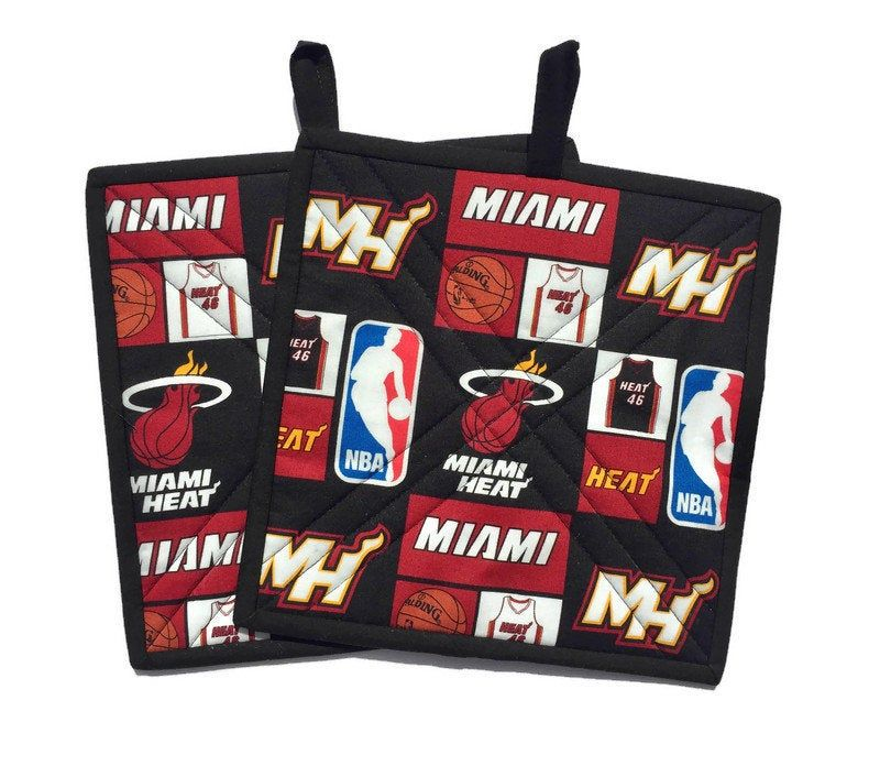 Miami Heat Potholders Set Of Two Quilted Miami Heat Fabric Pot Holders Miami Heat Gift For Him Lawsoncrreations Quil Spring Quilts Etsy Quilted Candle Mats