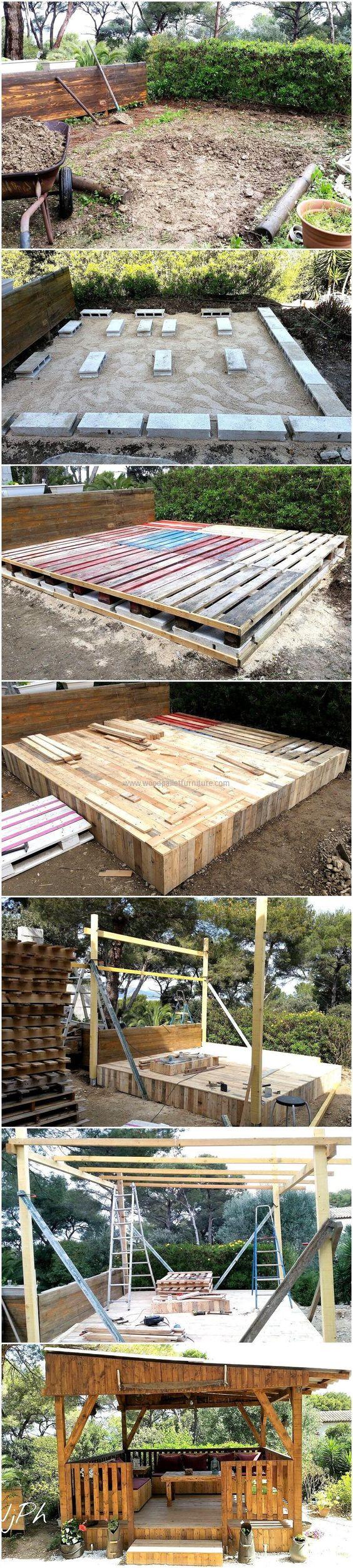 Diy wood pallet garden gazebo deck with furniture recup for Amenagement jardin recup