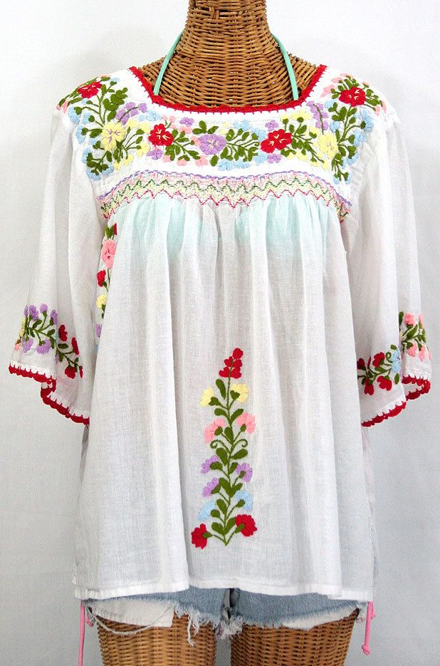 249ac1f044d Mexican Peasant Blouse Top Hand Embroidered