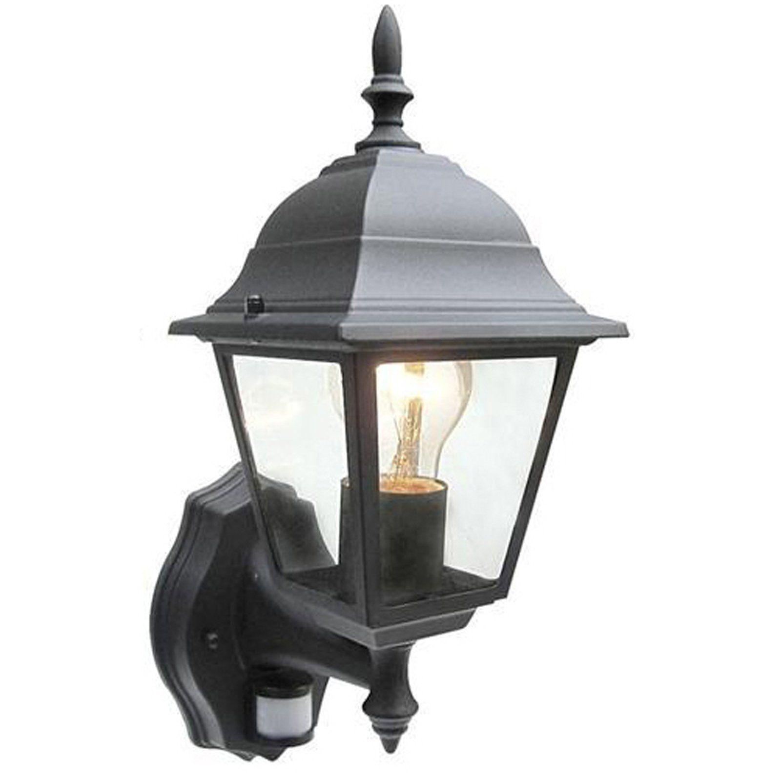 EL 40115 Black Outdoor Half Wall Lantern with PIR IP44 from Lights