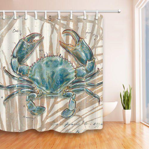Nymb Ocean Animal Decor Blue Crab Shower Curtain 69x70 In