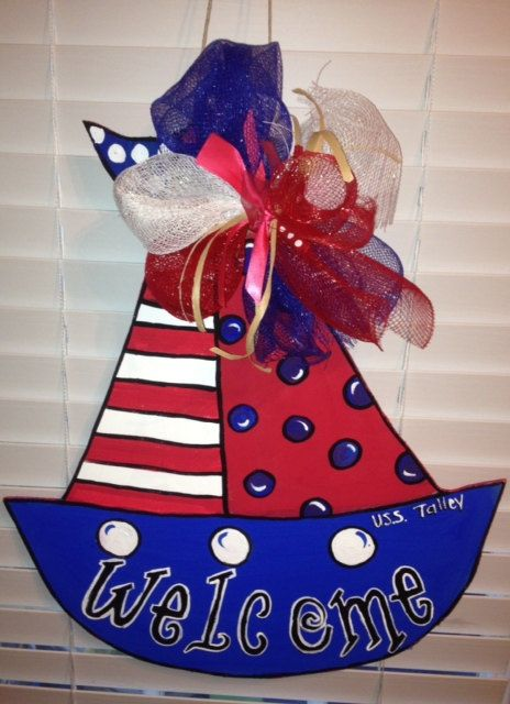 Set Sail Sailboat Door hanger by PaisleyPeacockDes on Etsy, $25.00 (enter coupon code Back2School for $10.00 off $60.00 or more purchase! Hurry won't last long!!)