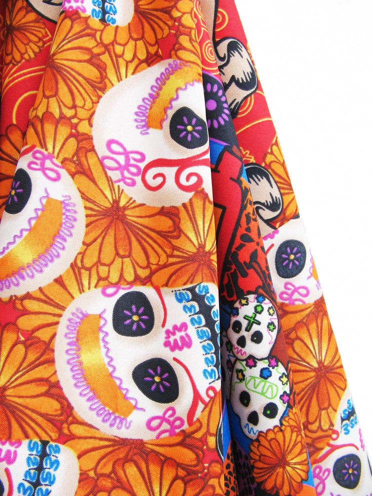 HURRY buy it now----- 2.5 yards x 1.5 yards of Mexican fabric with colorful designs for Dia de Muertos / Day of the Dead. $15.00, via Etsy.