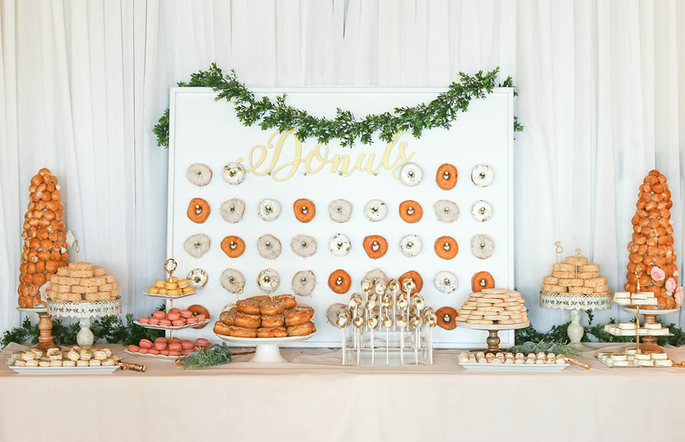 Our Engagement Party Engagement Party Decorations Donut Wall Wedding Wedding Dessert Table