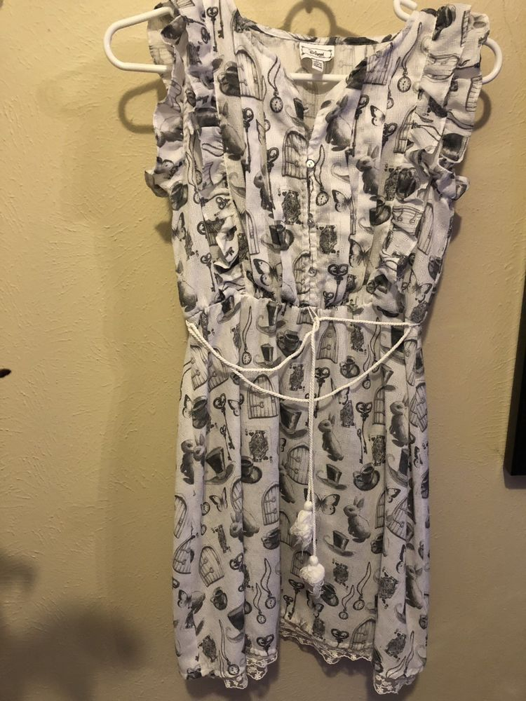 3a4331deb Used Girl Dress Sz M 10 12 D-Signed disney White grey Alice In ...