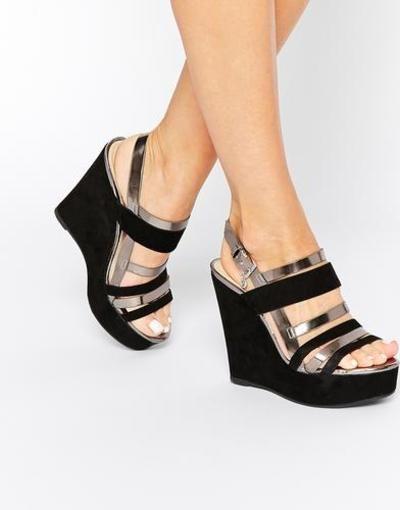 26eb7b1f87a Blink Sandalias de cuña con plataforma y tiras Black  sandals  covetme   Blink