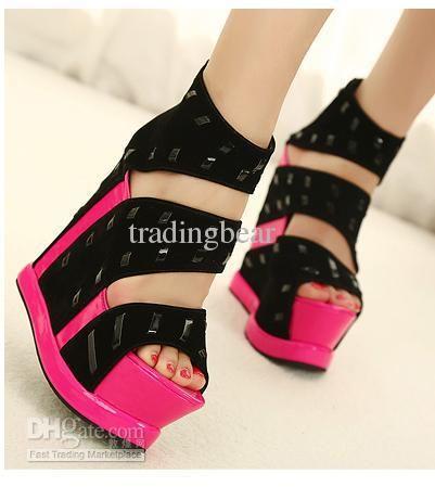 Wholesale Sandals Sexy Rivets Fluorescent Pink High Heels ...