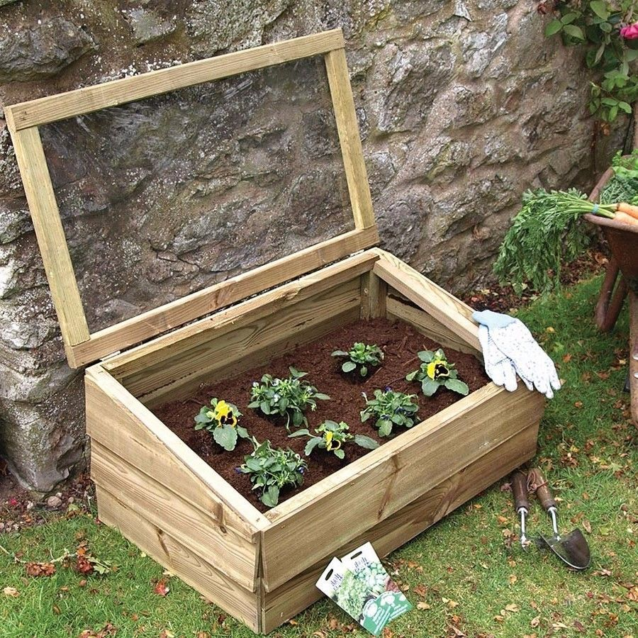 Large Cold Frame 83cm Wooden Garden Planters With Lid Grow Box Mini ...