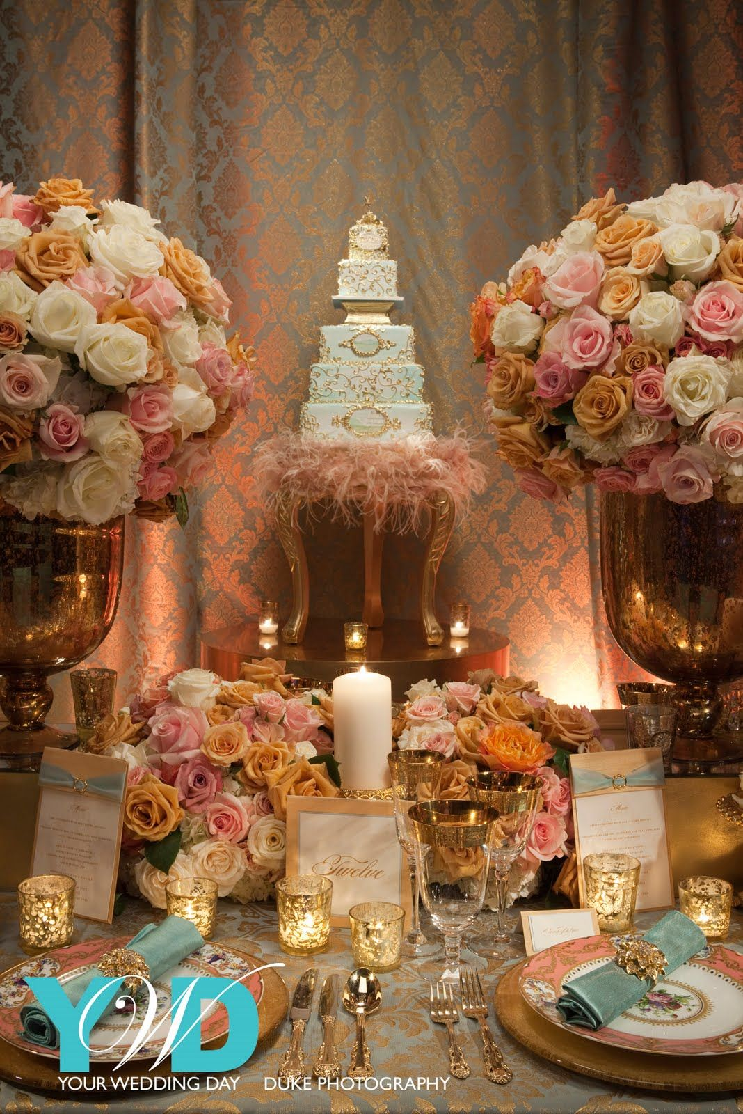 Use an Ostrich Boa for your Wedding Cake Table Decoration love the ...