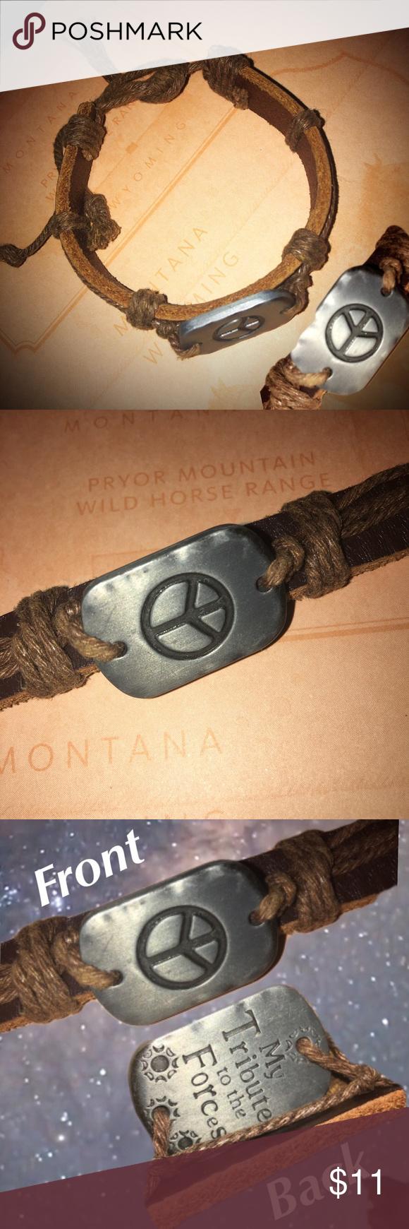 Genuine Leather Rope Peace Sign Bracelet Peace Sign Bracelet Genuine Leather Hinged Bangle