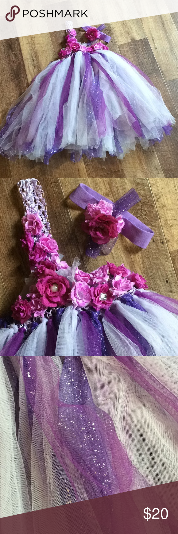 Empire Waist One Shoulder Floral Tulle Tutu Dress SIZE IS A GUESS - approximately 2T-3T Lavender waffle elastic bust with flowers. Various shades of purple in tulle skirt with some shimmer strands.  Matching headband included.  Used as photography prop/outfit.   0622 Dresses Formal