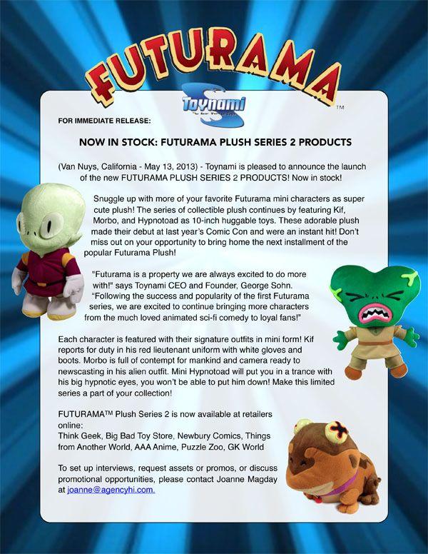"""FUTURAMA Kif 12/"""" Plush #NEW Toynami"""