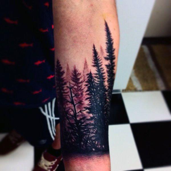 70 Pine Tree Tattoo Ideas For Men Wood In The Wilderness Wrist Tree Tattoo Wrist Tattoos For Guys Pine Tree Tattoo