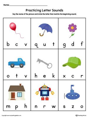 Practice Beginning Letter Sound Worksheet In Color | Printable