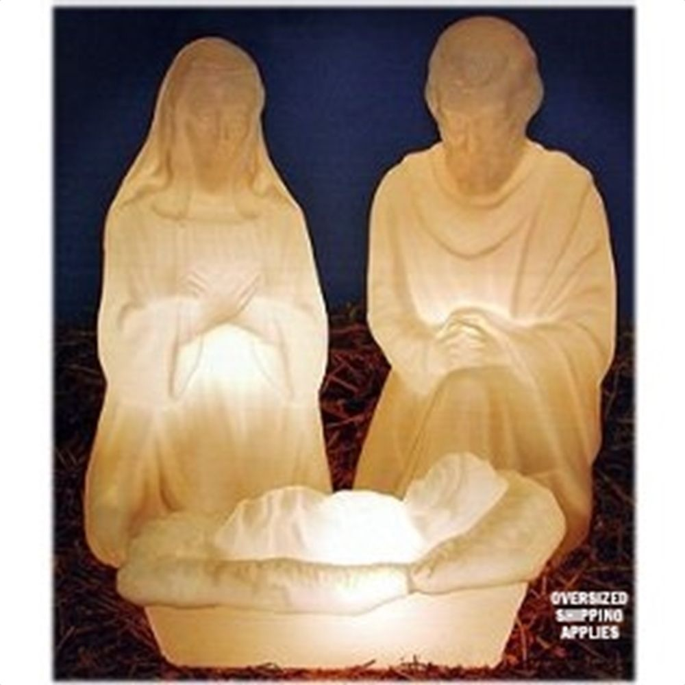 28 Outdoor Lighted 3 Piece Holy Family Nativity Set Outdoor