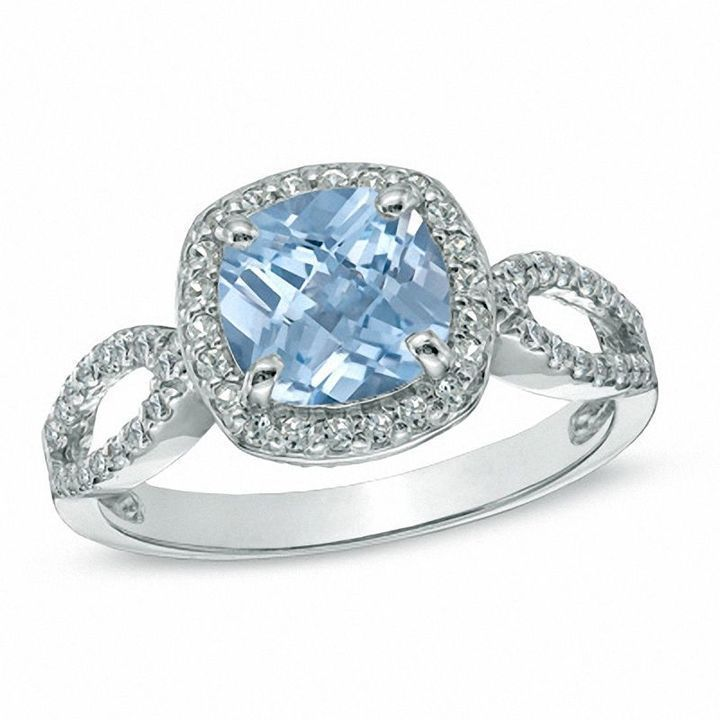 Zales 7.0mm Cushion-Cut Blue Topaz, Lab-Created Blue Sapphire and Diamond Accent Ring in Sterling Silver
