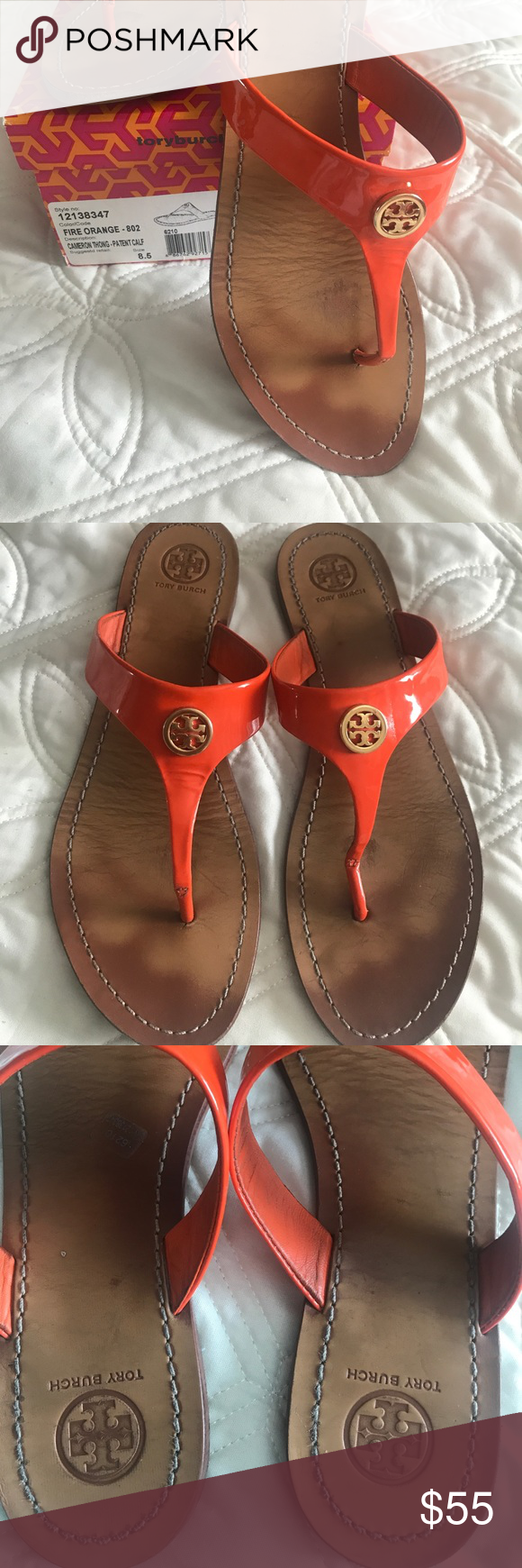 252cd6a32ce Tory Burch 8.5 orange patent Cameron thong sandal In good condition size  8-1 2 orange patent leather thong sandal. Original box included.