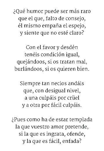 Redondillas Poema 24 Sor Juana Inés De La Cruz Frases