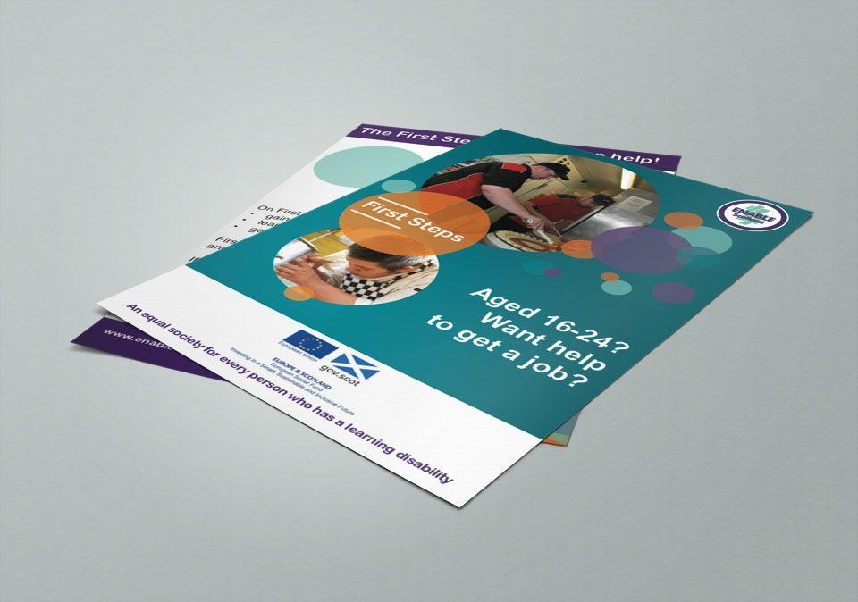 enable works glasgow flyer or leaflet design for enable works