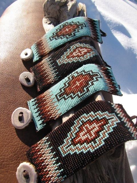 Beaded Cuff on tooled Leather by Brit West  #beadwork