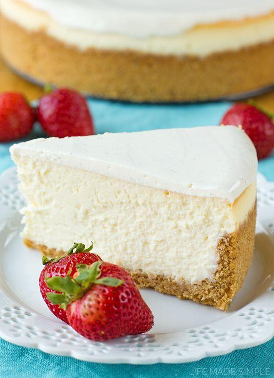 Perfect New York Cheesecake Recipe Video Life Made Simple Recipe Desserts Cheesecake Dessert Recipes
