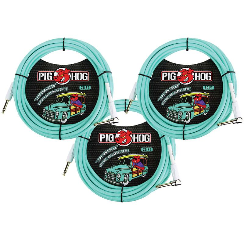 3 Pack Pig Hog Pch20sgr Right Angle Vintage Woven Instrument Guitar Cable 20ft Seafoam Green New Citymora Reverb Guitar Cable Music Gear Instruments