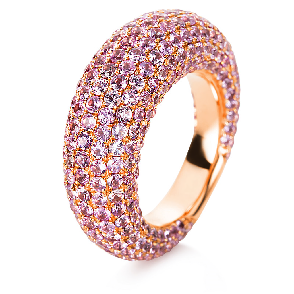 Details Diamond Ring 18 kt Rose Gold 329 sapphire totalling 8.25 ct ...
