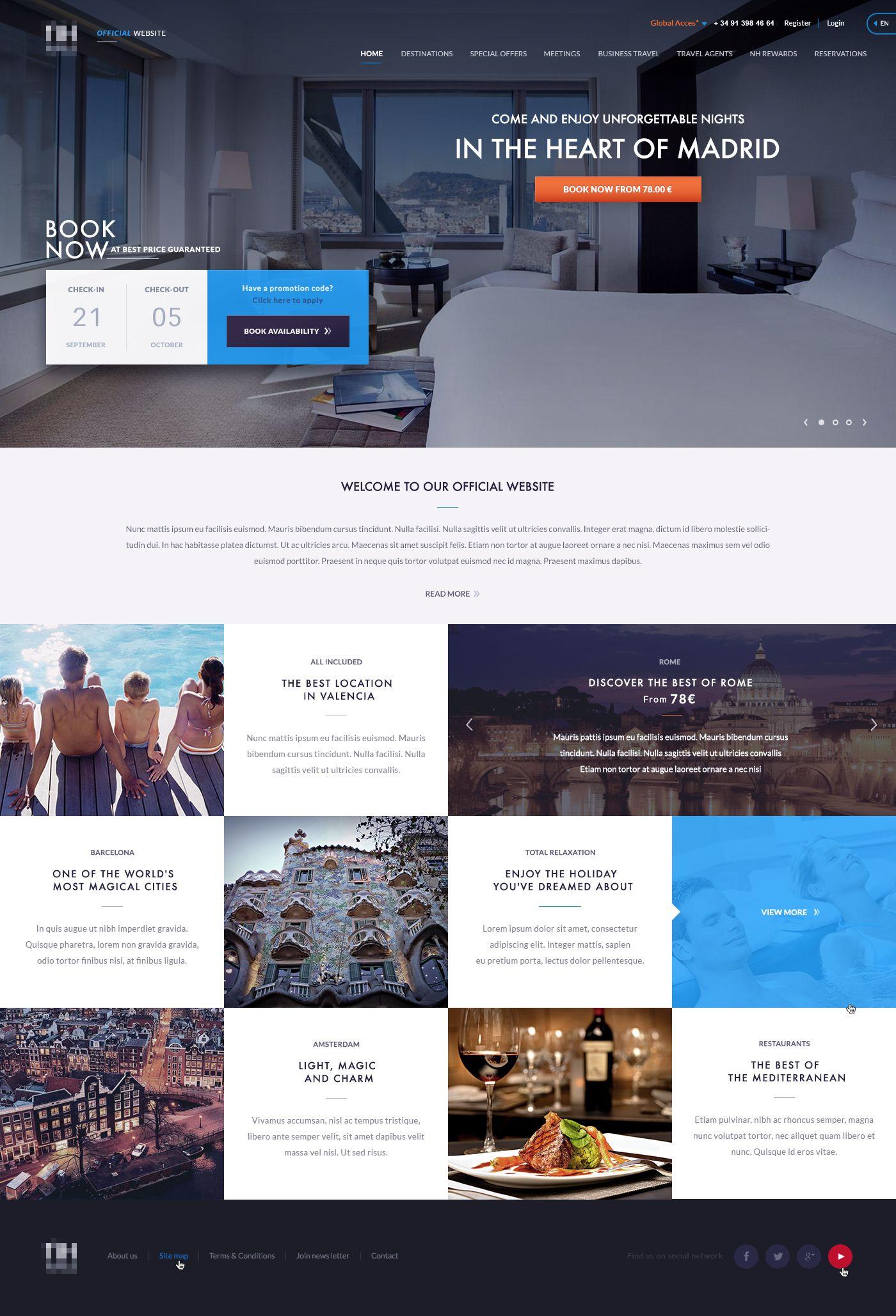 Dribbble Hotel Homepage Jpg By Jose Polanco Hotel Website Design Creative Website Design Website Design Inspiration