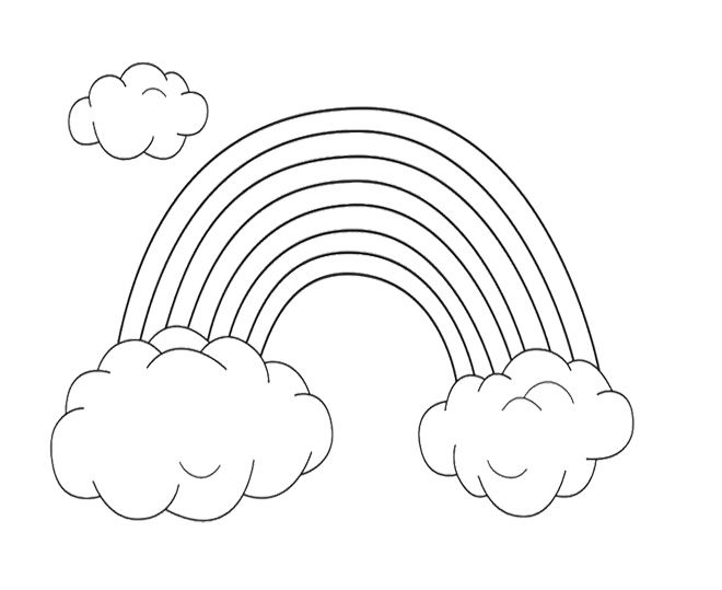 Rainbow And Cloud Coloring Page For Kids | Coloring pages ...