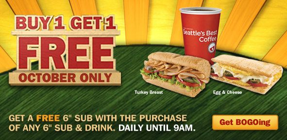 Chapter 39 talked about a strategy that companies use to sell their products. They make it seem as if the consumer is getting a good deal in order to sell their product. In this case, Seattle's Best Coffee is saying that if you buy a sandwich and drink, you get another sandwich free. The offer is only for October, too. They have put the pressure on the consumer in order to make you think that you need to take advantage of this deal while it is still available, bringing the company a profit.