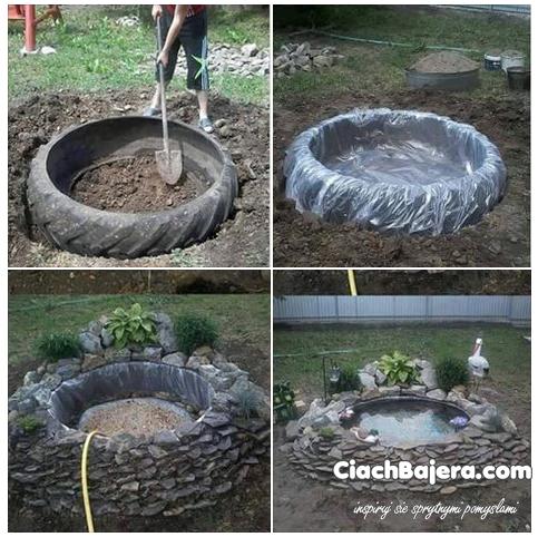 Oczko Wodne Z Opony I Kamykow Backyard Landscaping Designs Ponds Backyard Backyard Landscaping