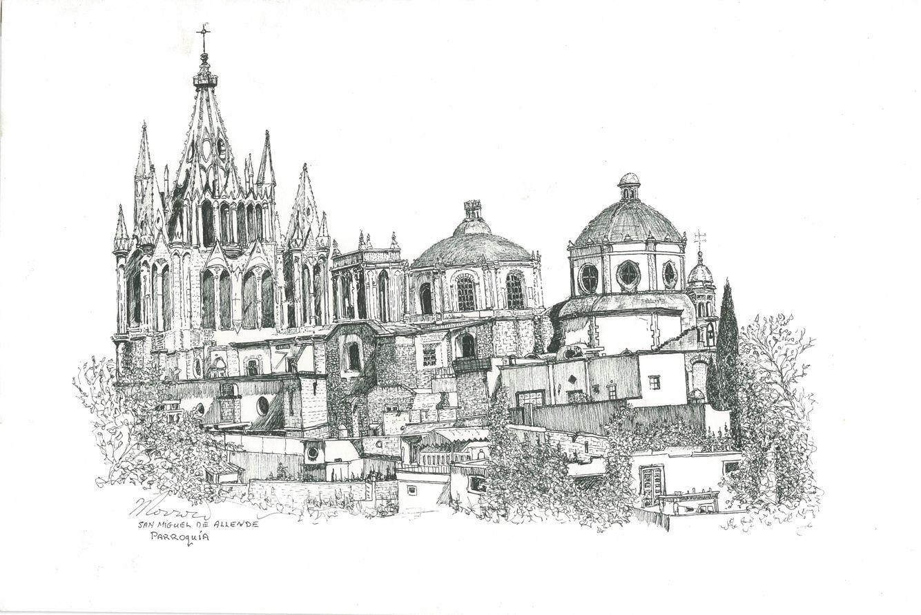 La Parroquia San Miguel De Allende Ink Drawing By William E Morrow San Miguel De Allende San Miguel Miguel De Allende