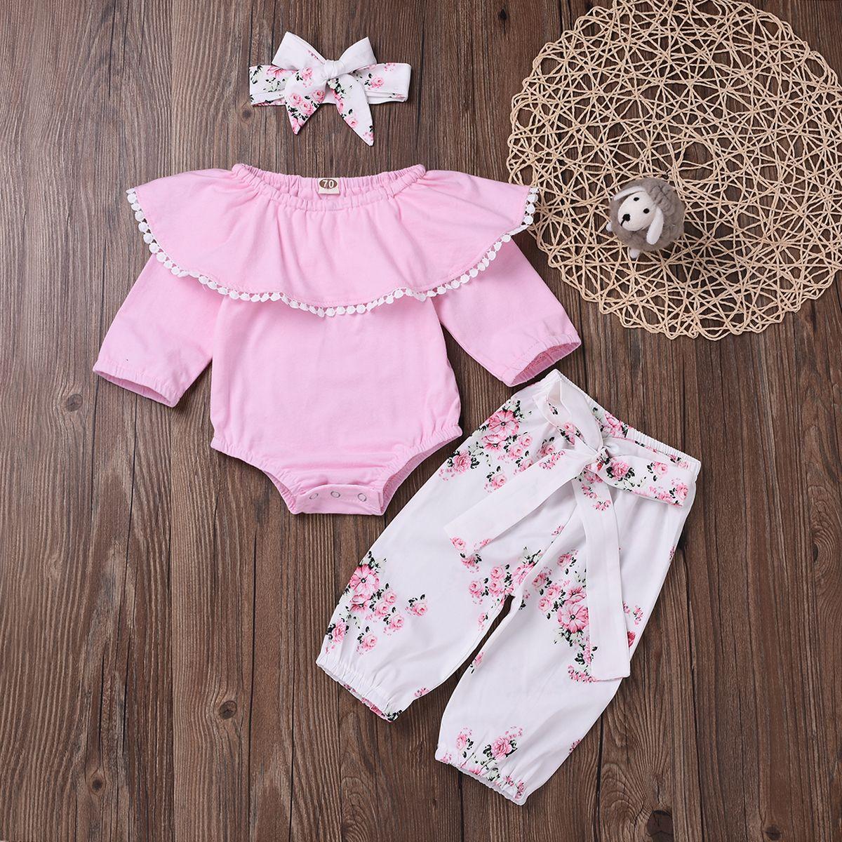 Newborn Baby Girls Long Sleeve Floral Printed Bodysuit+Flouncing Pants+Headband