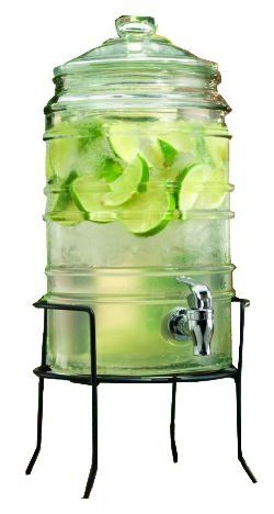 Amazon Com Durable Ribbed Glass Beverage Dispenser With Spigot On Stand 1 5 Gallons Home Bar Drink Dispenser Glass Beverage Dispenser Glass Water Dispenser Glass water dispenser with spigot