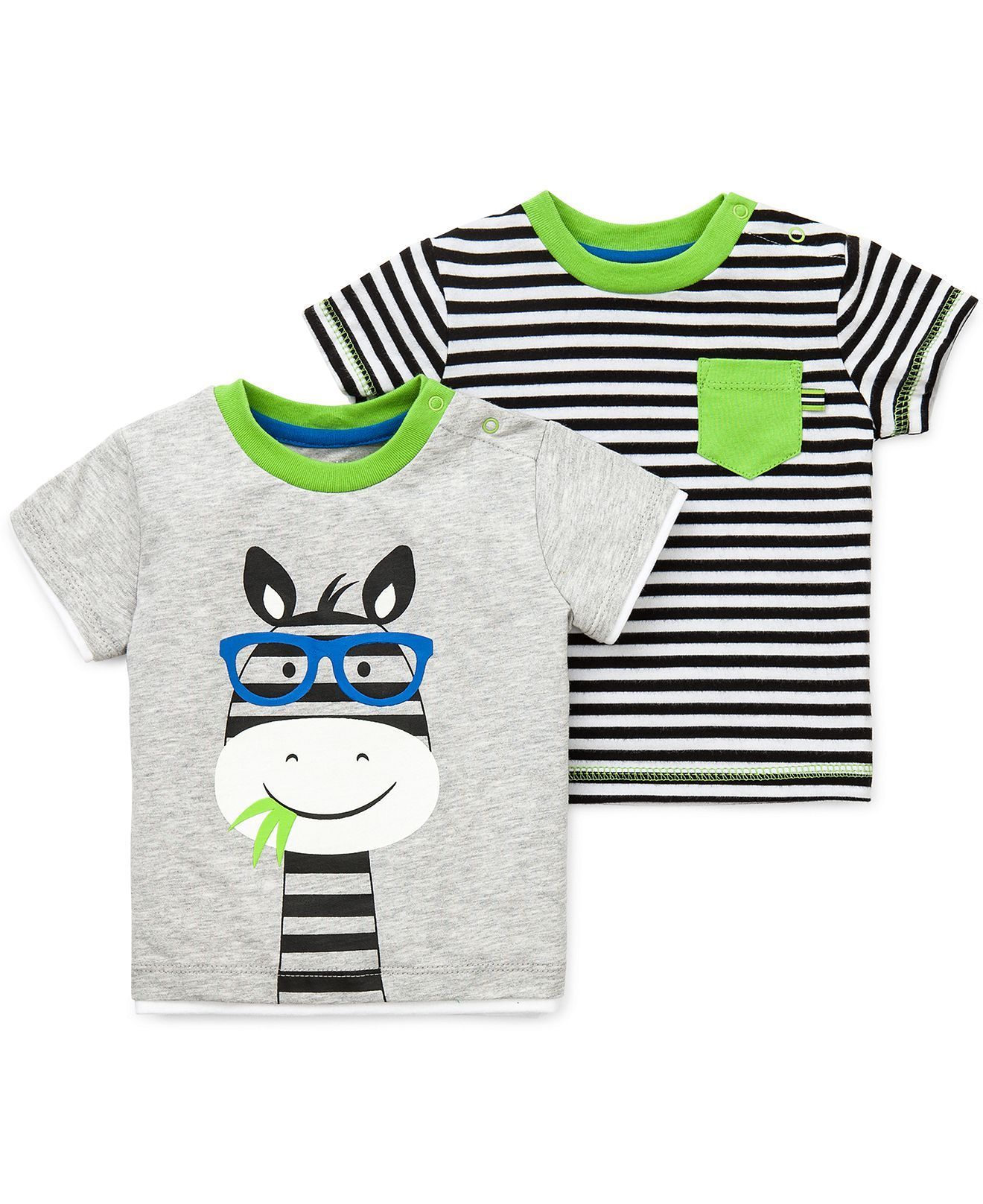 little me baby boys' 2pack zebra striped tees  kids baby