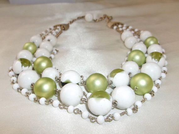Vintage Retro Five Strand Green White Marbled by MemawsTopDrawer, $15.00
