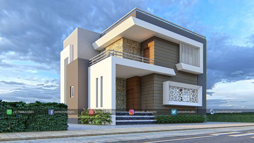 Residential Elevation In 2020 Architectural House Plans House Front Design Duplex House Design