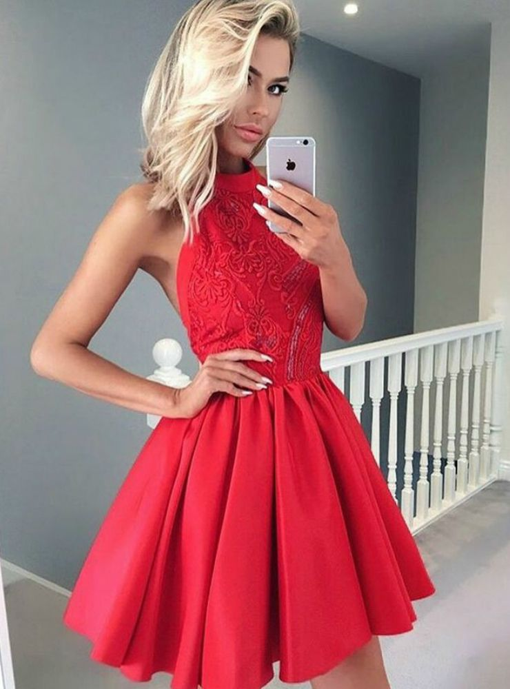 A Line Halter Short Red Satin Homecoming Dress With Lace Beading 9230946a2