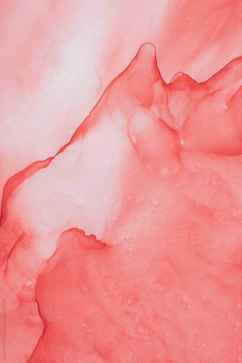 Abstract coral color fluid background by Robert Kohlhuber