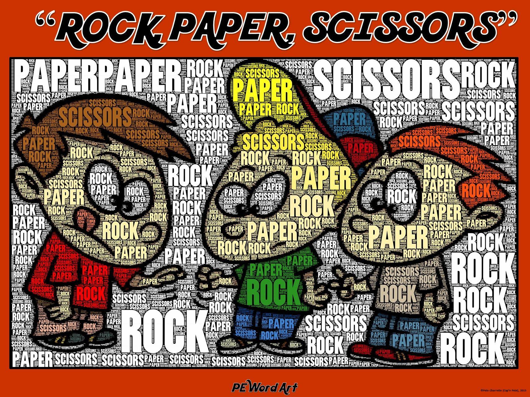 "Pe Word Art Poster ""rock Paper Scissors "" Cap' Pete"
