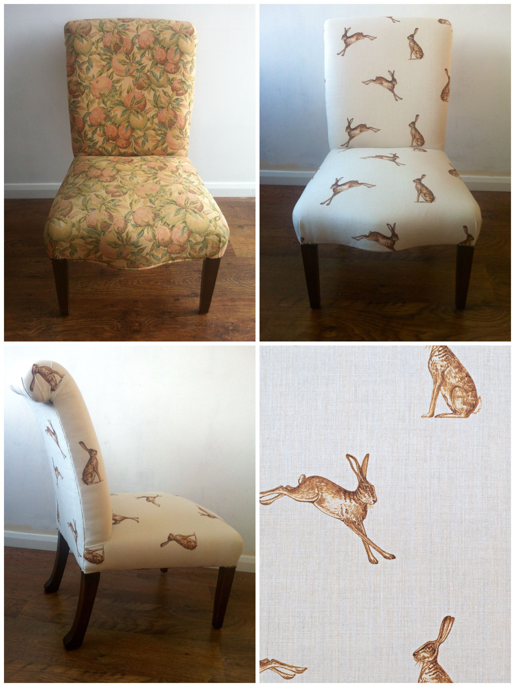 Antique Chair Re Upholstered Using Peony And Sage Hare